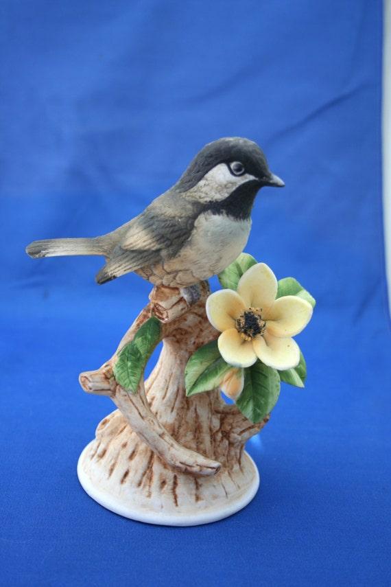 Andrea sadek black cap chickadee 8627 figurine with flower - Chickadee figurine ...