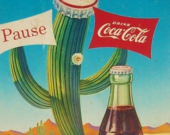 Coca-cola Authentic Rare Cactus Poster / 1957 /  Not a copy! / Antique Cardboard Advertising Art / Never Displayed / Great Color!