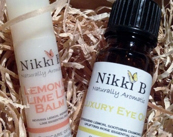 Gift Pack Contains 1 x Lemon & Lime Lip Balm and  1 x Luxury Eye Oil