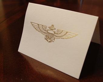 Set (10) of USN Naval Aviator Pilot gold embossed note cards