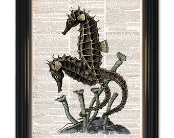 Seahorse dictionary art print on upcycled vintage dictionary book page- 8x10 inch. Buy any 3 prints get 1 free, buy 4 get 2 free!