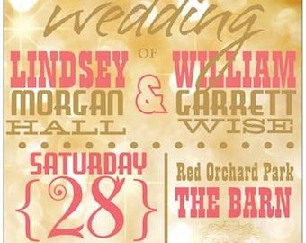Coral Gold Wedding Invitations