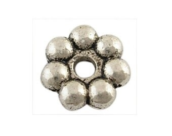 200 *  Alloy Beads, daisy spacer, Rondelle, Antique Silver