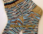 Hand knitted angora wool socks.Angora melange colors wool