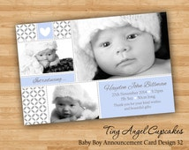 DIY Print Baby Boy Announcement Cards