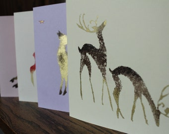 Unique, handmade Post Cards, DEERS, set of 4, with envelope