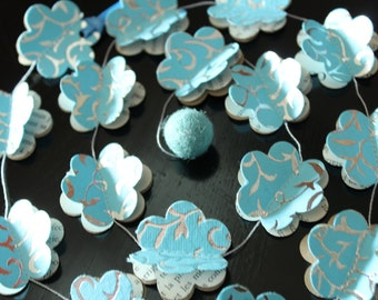 Paper Garland, BLUE FLOWERS, Heart Garland, Wedding garland, Birthday Party garland, with wool felt ball, 5 feet (1.5 metres)