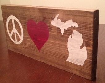 Peace Love Michigan - wood wall art