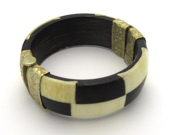 SALE!  Vintage Handmade Horn & Bone Checkerboard Bracelet Finished In Silver