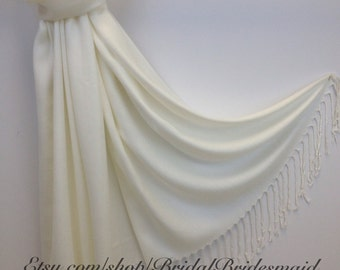 Wedding Season SALE - IVORY PASHMINA - ivory shawl - bridal scarf - bridal shawl - bridesmaid gift  - ivory scarf - ivory bridal shawl