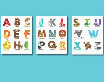 Alphabet Print, Kids Alphabet Art Print, 561