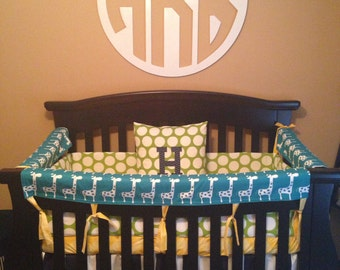 Bumperless Crib Bedding Nursery Bedding Teething Rail Guard Choose your fabrics
