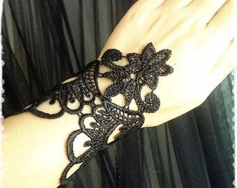 "Venice Lace Cuff Bracelet - Vintage Inspired Black Lace Wrist Corset - Victorian, Gothic, Oriental, Bohemian, Exotic Costume ""MAHAL"""