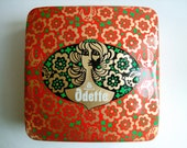 "Vintage Japanese Morozoff Odette Tin ~ Lg c1990 7"" cake biscuit 70's retro pinup hair glamour floral red green gold girl birds box geisha"