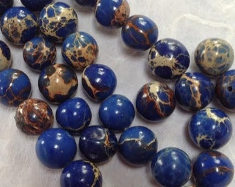0861.001 Agate Patterned Blue 8mm Pack of 10