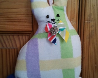Hand made recycled Pastel Striped fabric Easter Bunny Rabbit hanging decoration