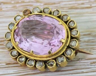 Victorian 5.25 Carat Pink Topaz & Rose Cut Diamond Brooch, 18k Gold, circa 1900