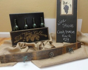 Wine Barrel Stave Purse or Coat Wall Hanging