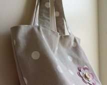 "Lunch Bag /Small Tote Bag /Packed lunch Tote  Bag /Shopper Bag Fabric  Clarke & Clarke ""Dotty"" Taupe print Lined Handmade"
