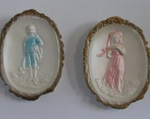 Pair of Vintage Chalkware Wall Hangings - Man and Woman - Pastel Blue & Pink - Rococo/Regency - Delicate and Feminine