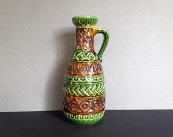 Bay Keramik  93 - 25  handled vase vintage Mid Century modern, Designer Bodo Mans,  1970s West Germany Pottery.