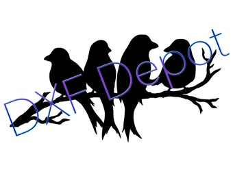 Perched Birds .dxf format. - CNC Cut File - Vector Art - Clip Art - DXF- CAD Drawing