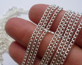 4M (400cm) Chain Silver Plated  2 x 3mm links - CHN6S