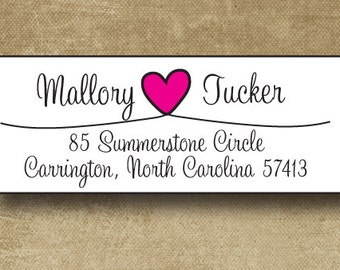 Personalized Address Labels, Heart Address Labels, Wedding Stickers, Return Address Labels, Personalized Wedding Labels, Mailing Address