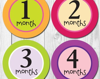 Baby Monthly Stickers, Girl Baby Month Stickers, Milestone Stickers, Monthly Baby Stickers, Monthly Stickers, Baby Shower Gift, Brights