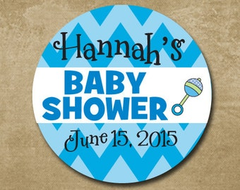 Baby Shower Stickers, Personalized Boy Baby Shower Stickers, Baby Shower Favor Stickers, Baby Shower Invitation, Baby Girl Shower, Rattles