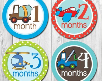 FREE GIFT Trucks, Planes Baby Monthly Stickers, Boy Month Stickers, Monthly Baby Stickers, Vehicle Stickers, Truck Stickers,