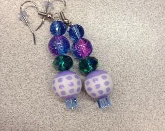 Blue gemlike jewel, Purple gemlike jewel, Polkadot earrings, Green gemlike jewelry, pastel green, pastel blue, pastel purple, 2timothys16