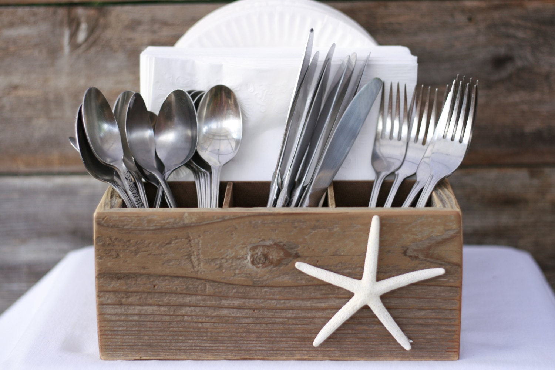 utensil paper plate napkin caddy holder box starfish beach. Black Bedroom Furniture Sets. Home Design Ideas