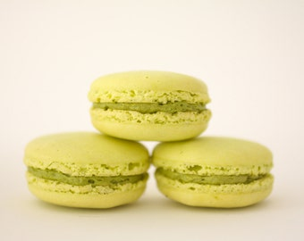 Green Tea French Macarons --  Gift Box of 10 Cookies --Bisou Bisou--Best French Macaron