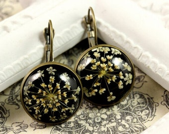 real Flower Earrings, Real Blossoms, Real Flower Jewelry, romantic jewelry
