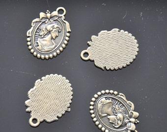 Beauty head Charms -20pcs Antique Bronze Beauty Head Charm Pendants --27*19mm--G0058
