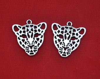 Leopard charm----10pcs Antique Silver  Leopard Head Charm Pendants---28*26mm--G322
