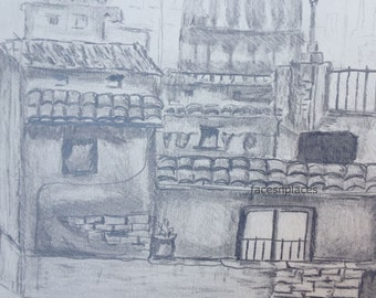 Rome Italy Pencil Drawing