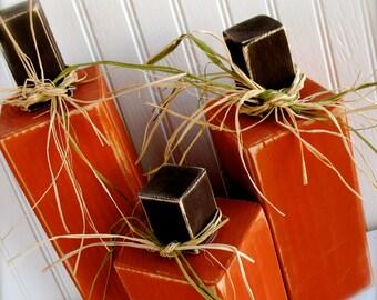 Set of 3 Primitive Wood Pumpkins Fall Wood Blocks Wooden Pumpkins Happy Harvest