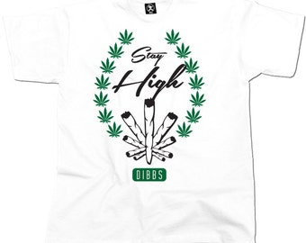 Stay High Cannabis Tshirt (White) From Dibbs