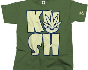 Kush Leaf Cannabis Tshirt (Olive) From Dibbs