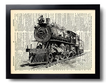 locomotive train Art Print Vintage Book Print Recycled Vintage Dictionary Page Collage Repurposed Book Upcycled Dictionary 276