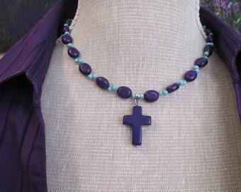 Magnesite cross  necklace