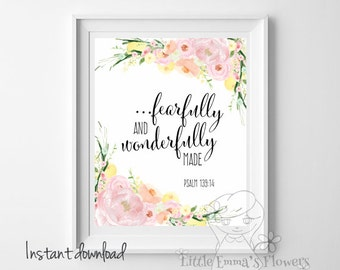 Fearfully and wonderfully made print Psalm 139:14 nursery decor printable wall art Scripture christian print home Bible verse art  24-24