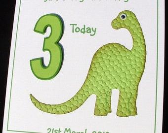 Personalised card, birthday card, dinosaur card, 3D birthday card, green dinosaur card, any age card, greeting card, keepsake card,