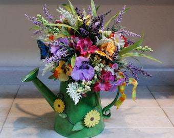 Spring Green Metal Shower Can Floral Arrangement With Beautiful Pastel Butterflies And Pansies Pam's DeZines Floral Arrangement   (Item 137)