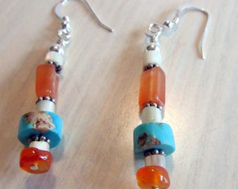 Orange White Turquoise and Sterling Silver Dangle Earrings