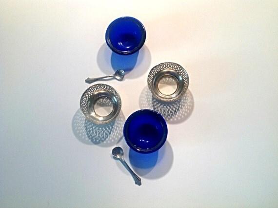 Two Salt Cellars Sterling Silver With Cobalt Blue Liner