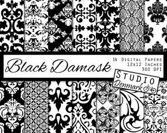 Black and White Damask Digital Paper - Black Damask Commercial Use - Floral Decorative Backgrounds - Instant Download Damask Digital Paper