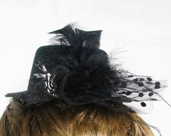 Black Mini Top Hat w/ Guinea Black and White Polka Dot Feathers, Saddle Feathers, and Polka Dot Mesh Accent Hair Clip Facinator